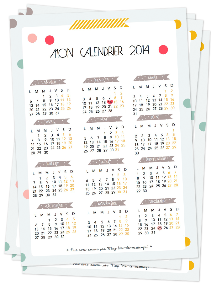 Le calendrier 2014 à imprimer
