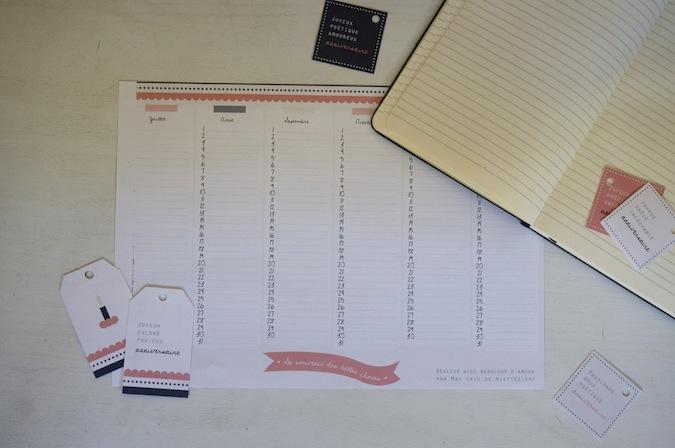 Le calendrier d'anniversaire et ses étiquettes à imprimer