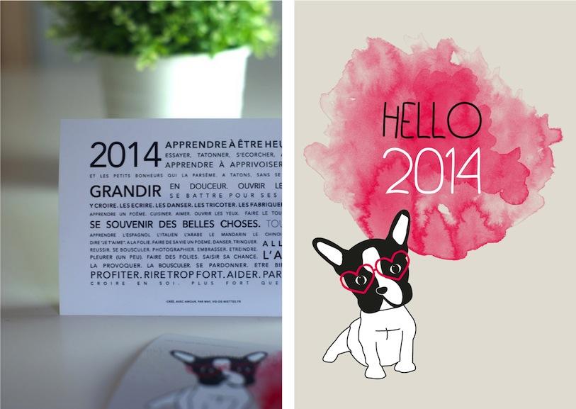 Carte de voeux 2013 avec un bouledogue français