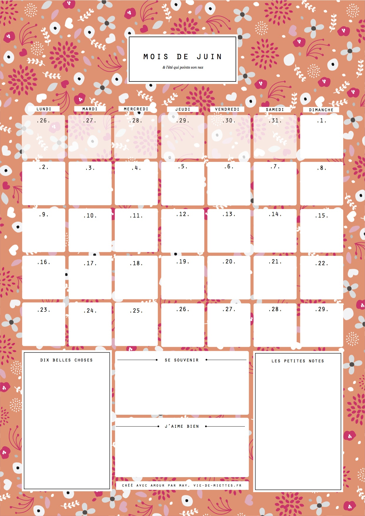 calendrier juin orange