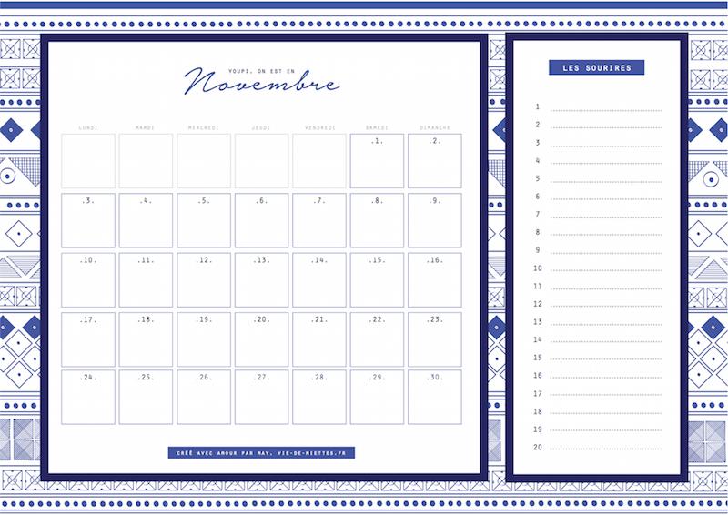 calendrier et organisateur de novembre