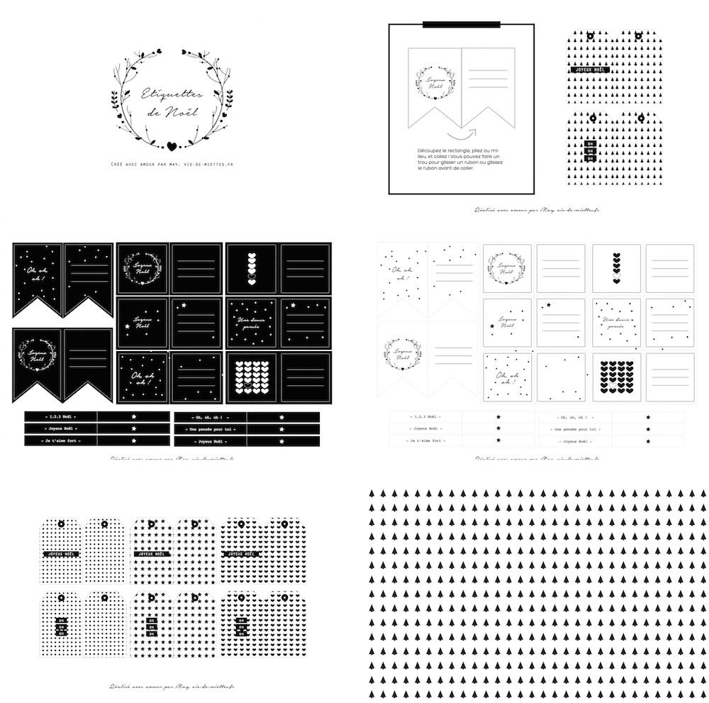 Etiquettes à imprimer noires et blanches
