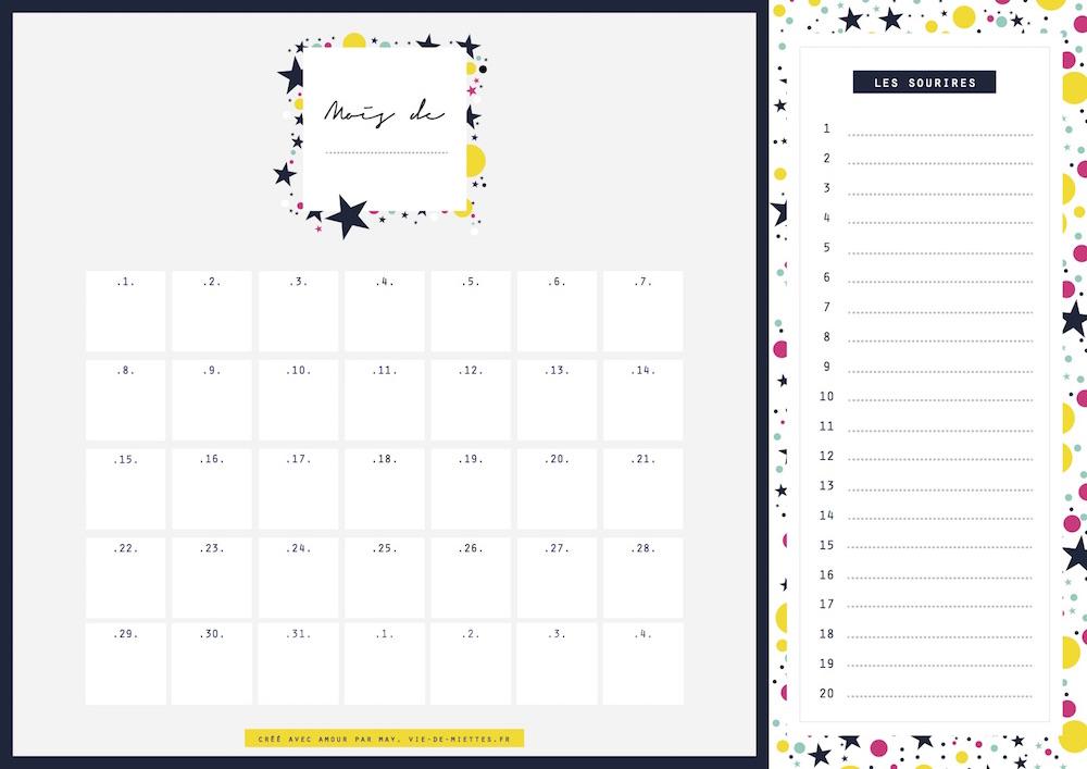 calendrier mensuel à telecharger