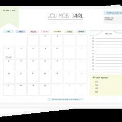 Calendrier mensuel pastel à imprimer