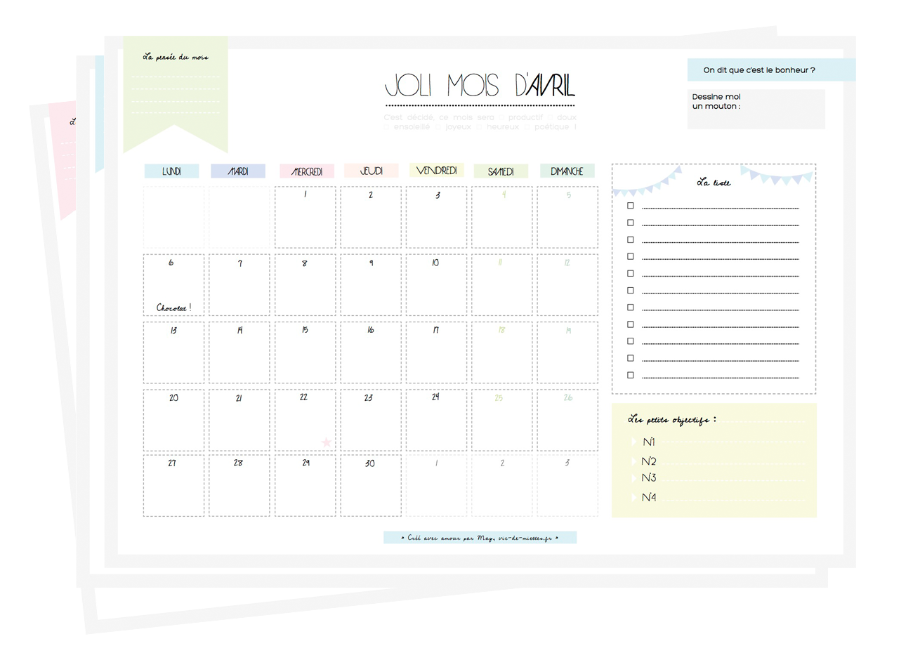 Calendrier mensuel gratuit pastel à imprimer