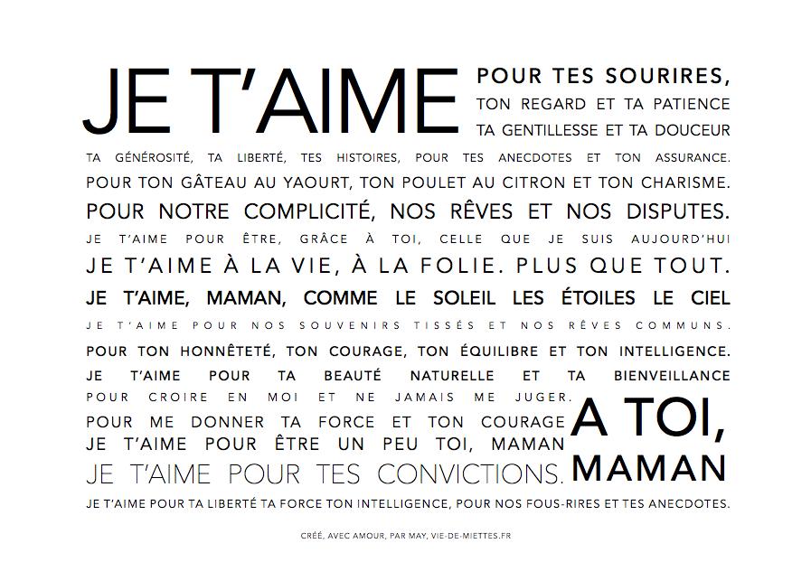 Texte pour sa maman pour la fête des mères