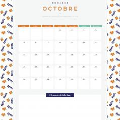 Calendrier octobre à imprimer gratuitement