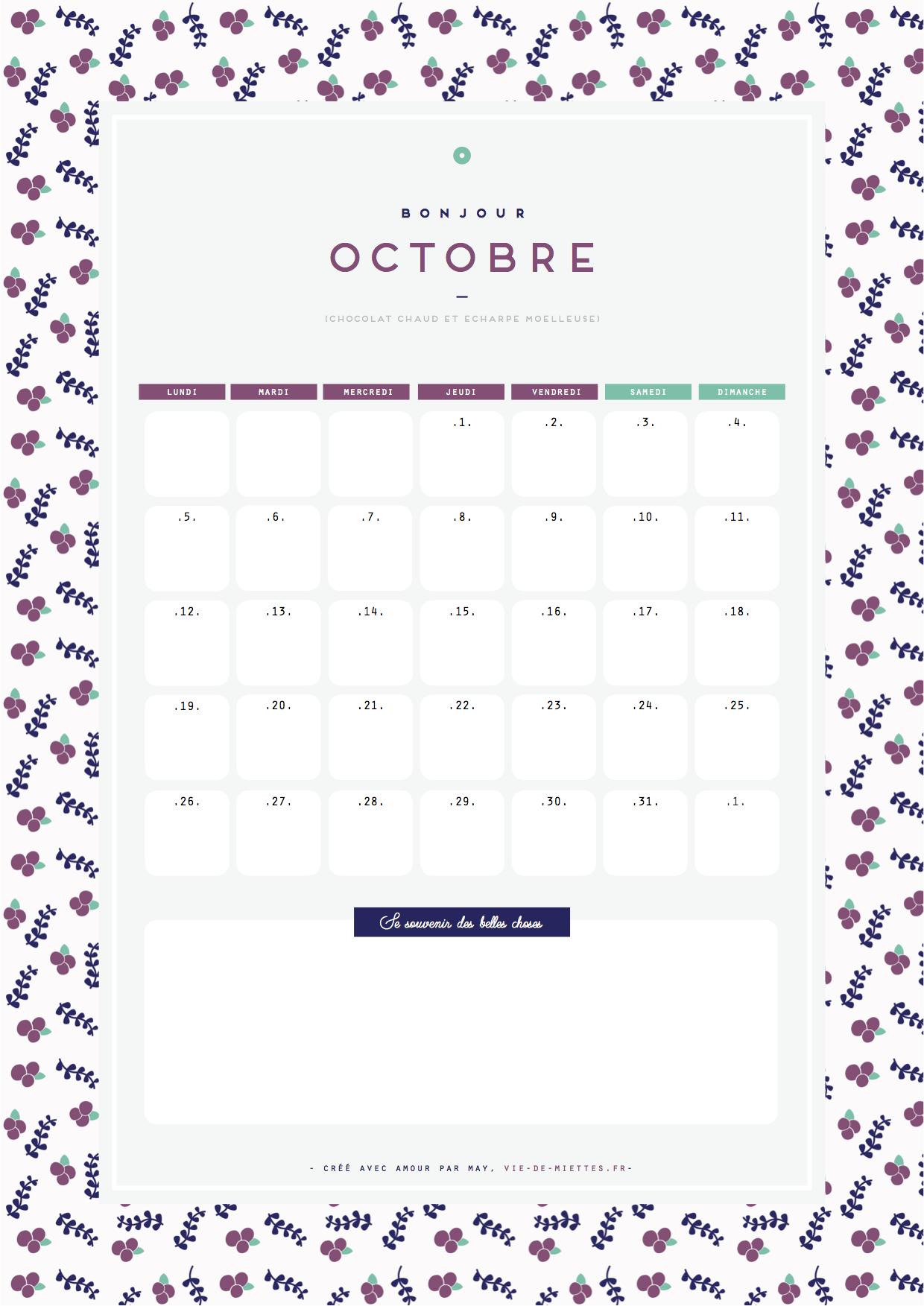 Calendrier octobre fleuri à imprimer gratuitement