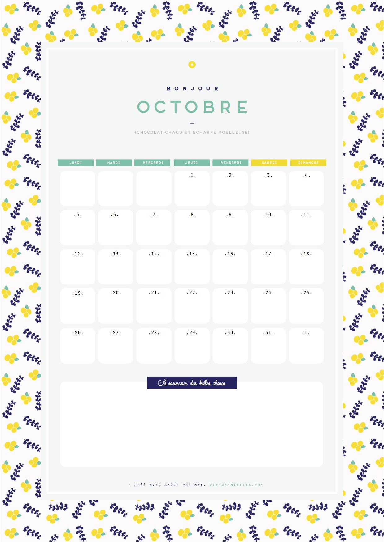 Calendrier octobre jaune citron à imprimer gratuitement