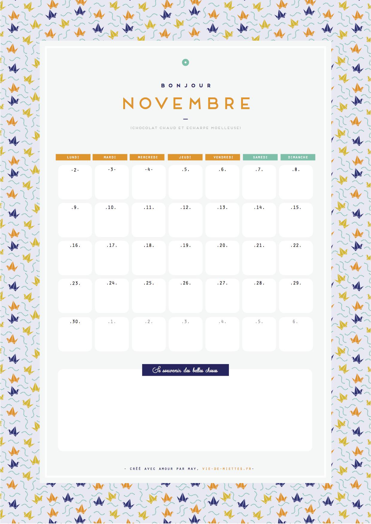 Calendrier de novembre à imprimer gratuitement