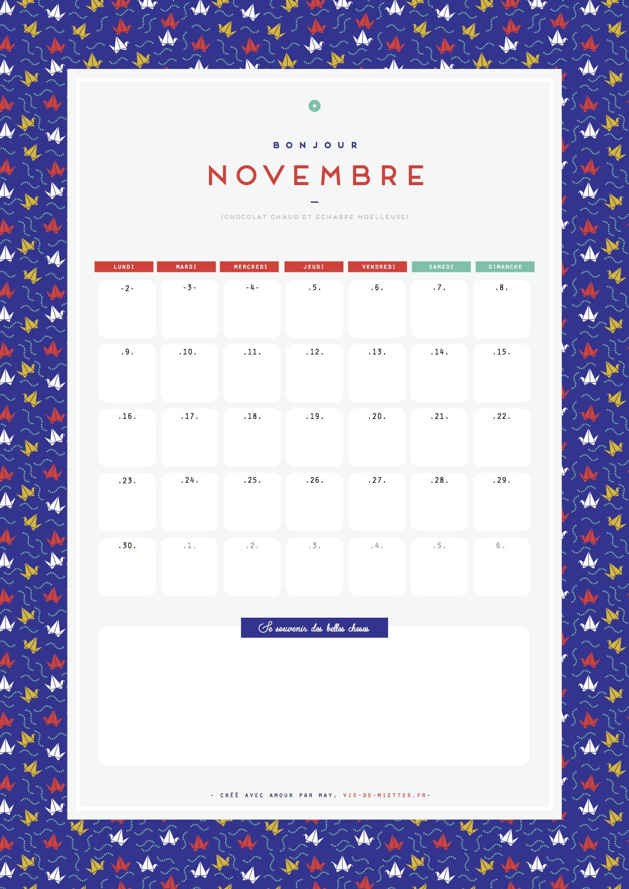 Calendrier de novembre à imprimer