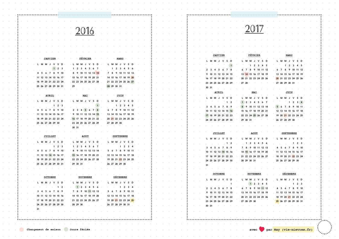 Bullet journal agenda 2016 - 2017