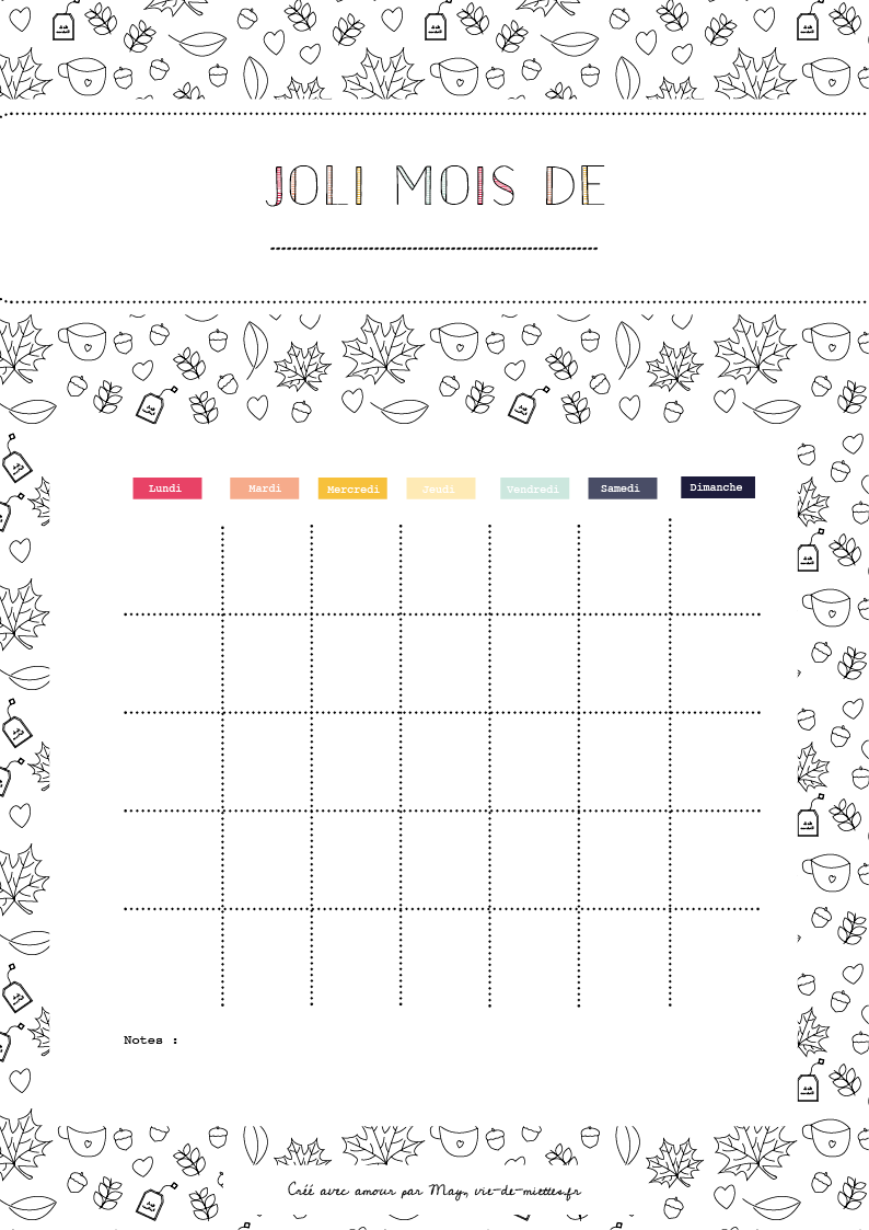 Organisateur mensuel à colorier
